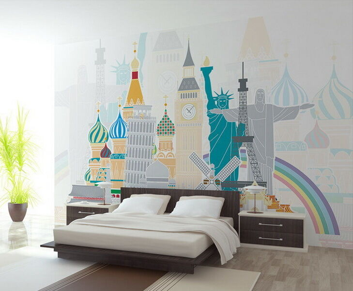 3D London NY Wolrd Sign Wallpaper Wall Decals Wall Art Print Wall paper Mural