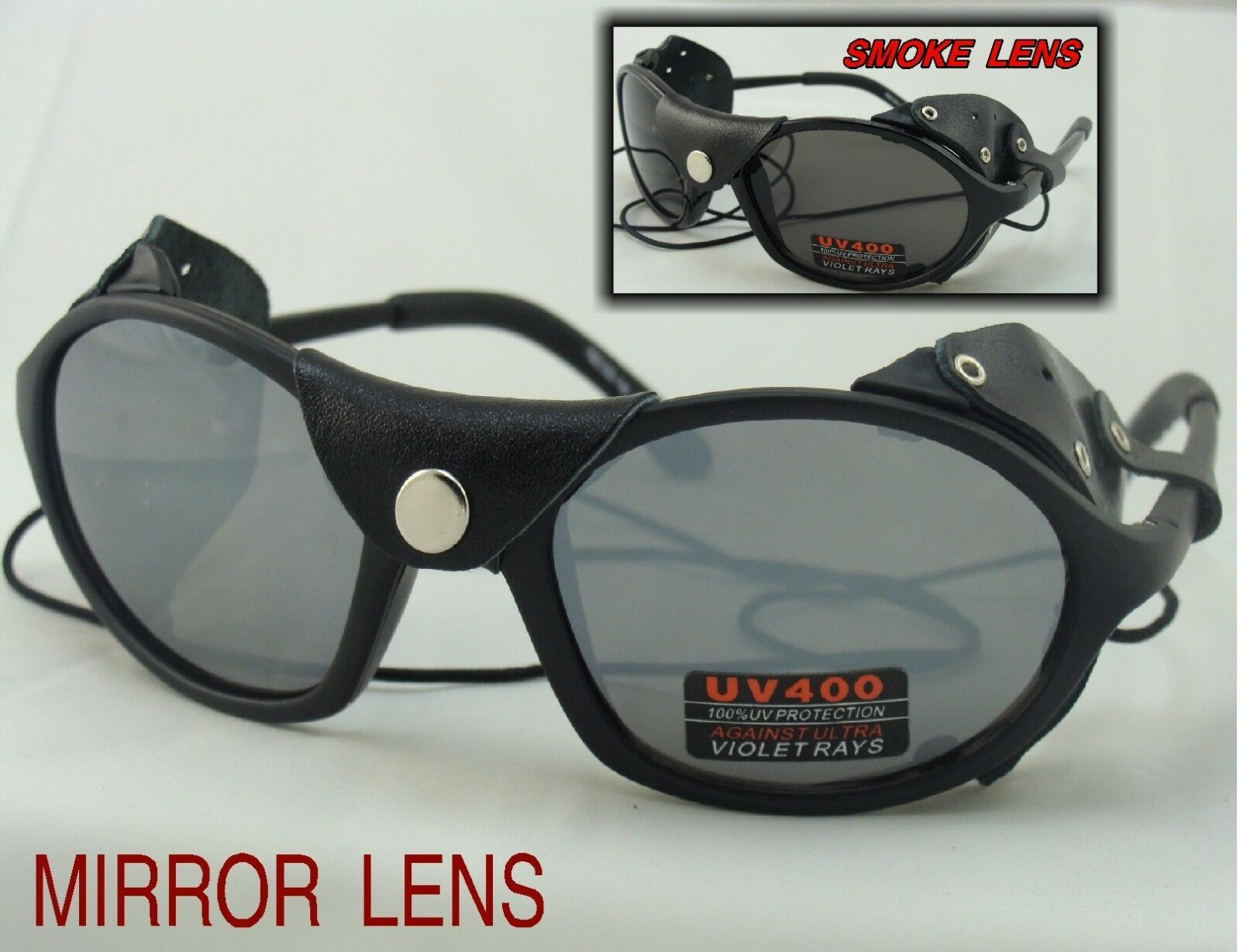 Glacier Sunglasses Mirror or Smoke Lens Side Shields 1-2-4 Pairs Glacier Glasses