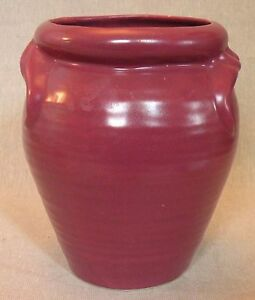 8p213-ART-POTTERY-VASE-DARK-RED-unknown-maker-6-inches-high