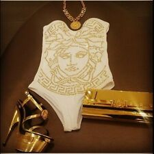 Versace Gold Studded Medusa Swimsuit Bathing Suit Size 1 XS