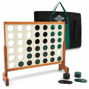 Lancaster Gaming Company Giant 4 In A Row Wooden Outdoor Gaming Set w/ Carry Bag