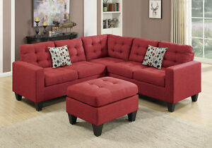 Corner L Sectional Sofa Couch Loveseat Wedge Tufted Ottoman Carmine