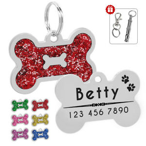 da76536e0410 Dog Tags Personalized Engraved Pet Cat ID Name Collar Tag Bone ...
