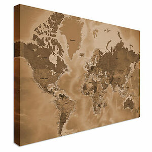 Image Is Loading Supersize Detailed Sepia World Map Style Canvas Picture
