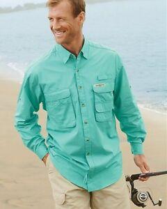 HOOK & TACKLE Mens S-XXL 3XL Long Sleeve BAHAMA UPF 30 Fishing Shirt Vented Back