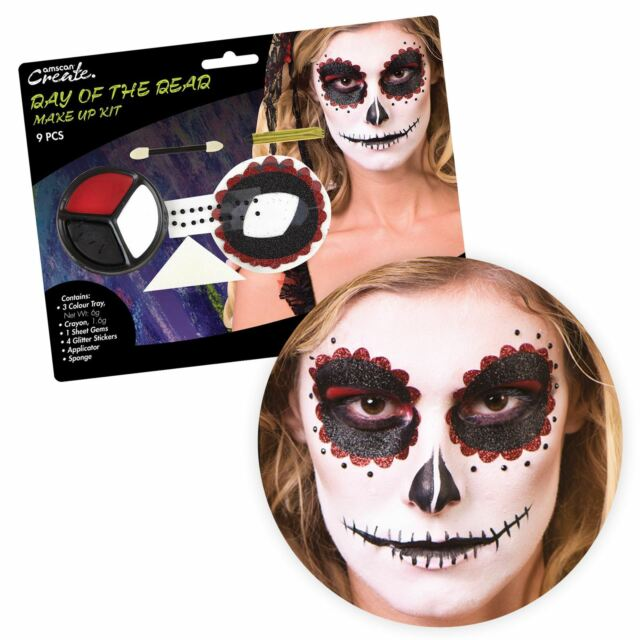 Day Of The Dead Maquillage Yeux Kit Mexicain Dia Los Muertos Sfx Halloween