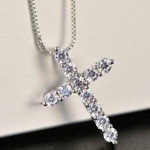Silber-Farbe-Halskette-Kette-Kreuz-Strass-Kristall-Zirkonia-Luxus-Diamant-Damen