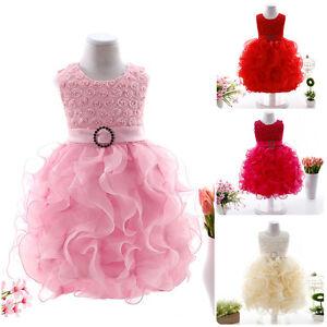 Flower-Girls-Kids-Toddler-Baby-Ruffle-Princess-Formal-Party-Wedding-Tutu-Dresses