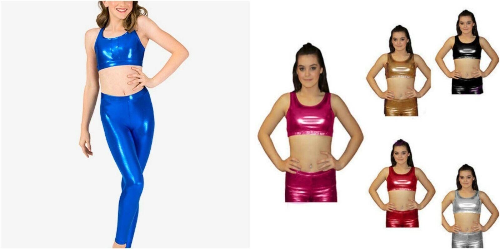 Children Shiny Metallic Wet Look Lycra Crop Top & Legggings Kids sizes