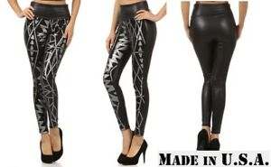 0ff9e64341b64 Image is loading NWT-TRENDY-STRETCH-FASHION-FAUX-LEATHER-SEQUIN-LEGGINGS-
