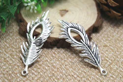 5pcs-Peacock Feather Charms Antique Tibetan silver Feather pendants 71x28mm