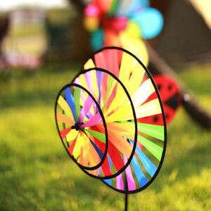 Rainbow-Triple-Wheel-Spinner-w-Stake-Windmill-Wind-Catcher-Yard-Garden-Decor