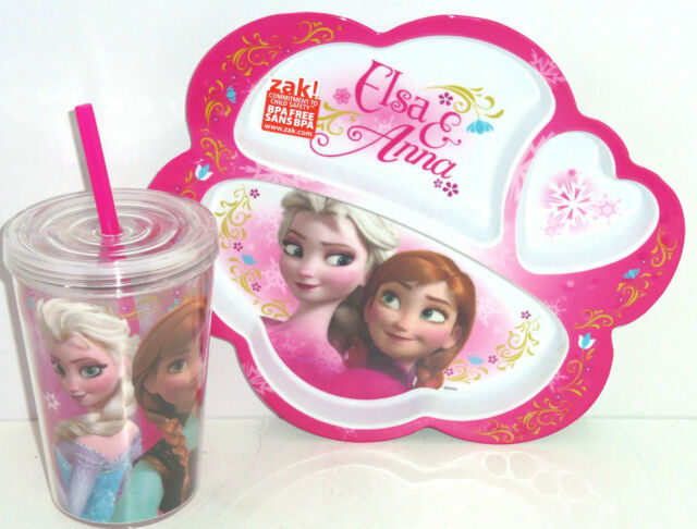 Disney Frozen Elsa Anna Olaf Dinner Plate Cup Tumbler Straw Drink Dinnerware New