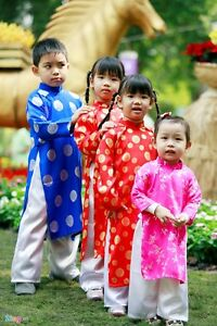 Image Is Loading Set Of Ao Dai Khan Dong For Kids