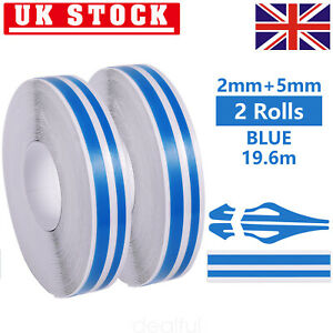 2X Blue 1/2'' Pin Striping Stripe Vinyl Tape Decals Stickers Fr cars Motorcycles