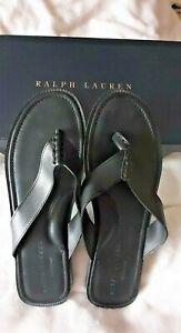 Men-039-s-Size-13-black-Ralph-Lauren-Darnford-Vachetta-Leather-sandals-flip-flops