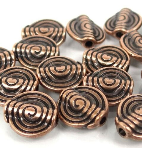 15 Ammonites Antique COPPER Pewter Spiral spire Disc Beads 11mm