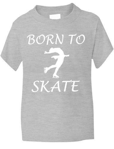 Born to Skater Eislaufen Sport Lustig Mädchen T-Shirt Geburtstag Alter 1-13