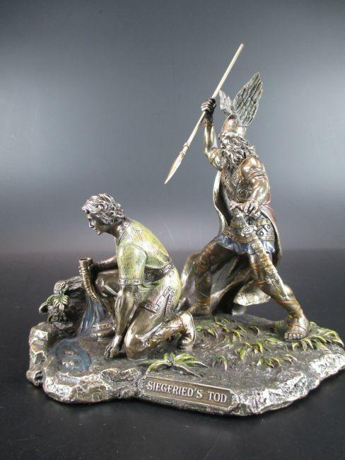 Siegfried Muerte Hagen Mata 18 Cm Bronceada Figura, Colección de Veronese, Nuevo