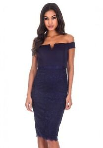 c67839f3339a AX Paris Women Navy Notch Front Midi Dress Lace Detail Bardot Off ...