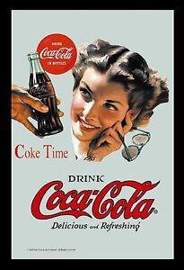 deco cadre miroir coca cola pub vintage avec pin up annees 50 ebay. Black Bedroom Furniture Sets. Home Design Ideas