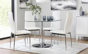 Round Gl And Chrome Dining Table Design Ideas