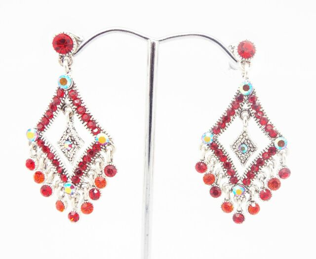 ICON 1.75 in RED RAINBOW MULTI CRYSTAL DROP DANGLE SILVER EARRINGS BUTTERFLY NEW