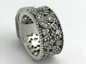 faf0250df Image is loading Authentic-Pandora-Shimmering-Leaves-Ring-Clear-CZ-190965CZ-