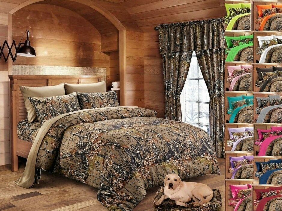 17 PC SET   braun CAMO FULL Größe COMFORTER  SHEETS  2 CURTAIN SETS  CAMOUFLAGE