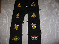 Black Masonic Mens Winter Scarf Shrine Widows Sons Embroidered Logo