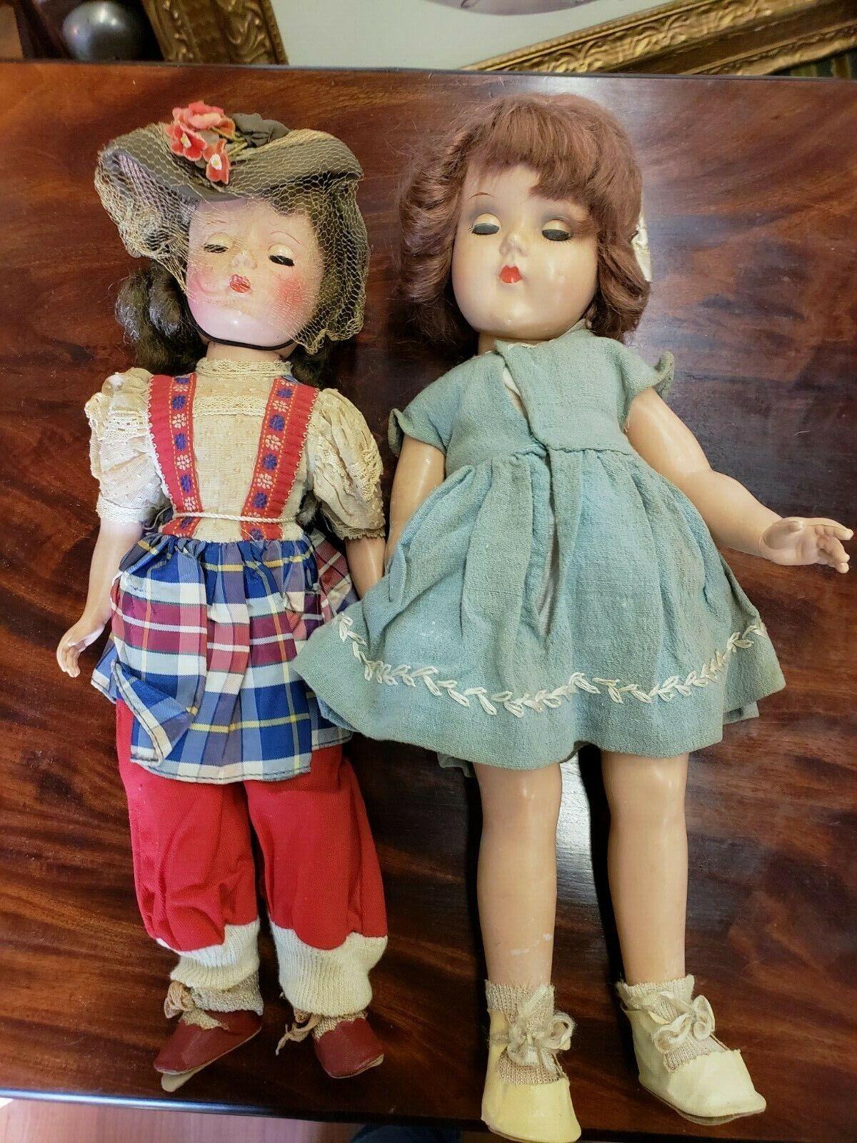 Vintage Lot of 2 Dolls w  cloths & schuhe    15   Circa 1920-60's    Free Ship