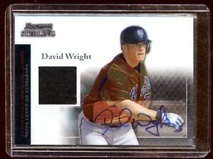 David wright 2004 bowman sterling auto jersey mets for David wright signature