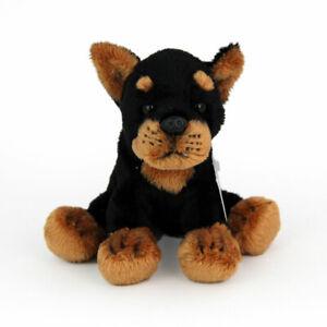 Stofftier kleiner Dobermann, sitzend, Hund, Plüschtier (H. ca. 12 cm)