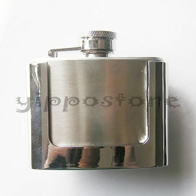 2 oz. Stainless Steel Flask Metal Removable Concealed Belt Buckle Alcohol Drinks