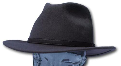 Medium High quality grey wide brim 100/%  wool felt fedora trilby hat