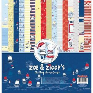 Scrapbooking Crafts 12X12 Paper Pack Zoe & Ziggy's Sailing Nautical Cute Cats