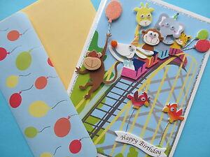 Greeting-Card-Birthday-Boy-Girl-Child-Kids-Roller-Coaster-Animals