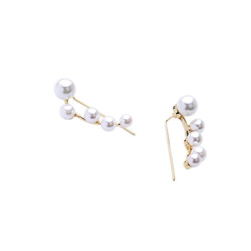 Boucles d/'Oreilles Clous Doré Artisane Branche Arbre Perle Blanc Class CC 8
