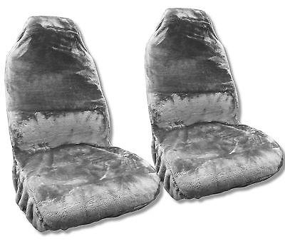 Faux Sheepskin Seat Covers Pair Gray Synthetic Fleece Wool Plush Comfort