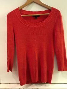 Banana-Republic-Petite-M-Red-Sweater-Wide-Boat-Neck-3-4-Sleeve-Cotton-Blend