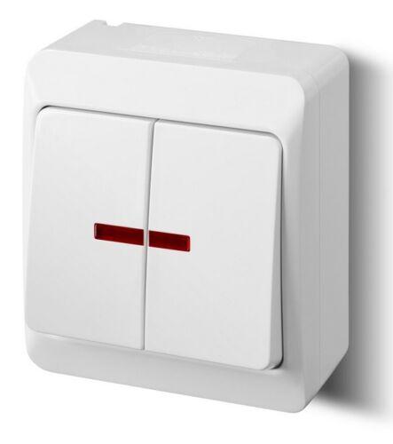 Schalter Doppelschalter Aufputz Feuchtraum IP44 10A  Aufputzschalter Beleuchtet