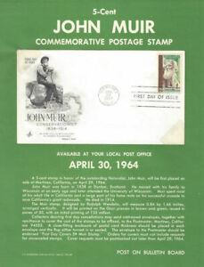 #1245 5c John Muir Naturalist Stamp Poster- Unofficial Souv Pg ft / ArtCraft FDC