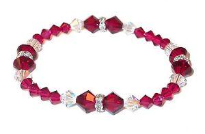 RUBY-RED-amp-CLEAR-AB-Crystal-Bracelet-SWAROVSKI-Elements-Stretch-on-Bracelet