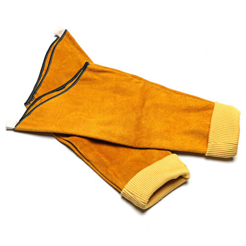 Cowhide Leather Welding Elastic Cuff Welder Long Protective Gloves Sleeve