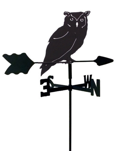 OWL GARDEN STYLE WEATHERVANE BLACK WROUGHT IRON LOOK MADE IN USA TLS1064IN