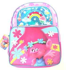Trolls Kids School Padded Straps Bag Backpack With Front Pockets Pink 16''