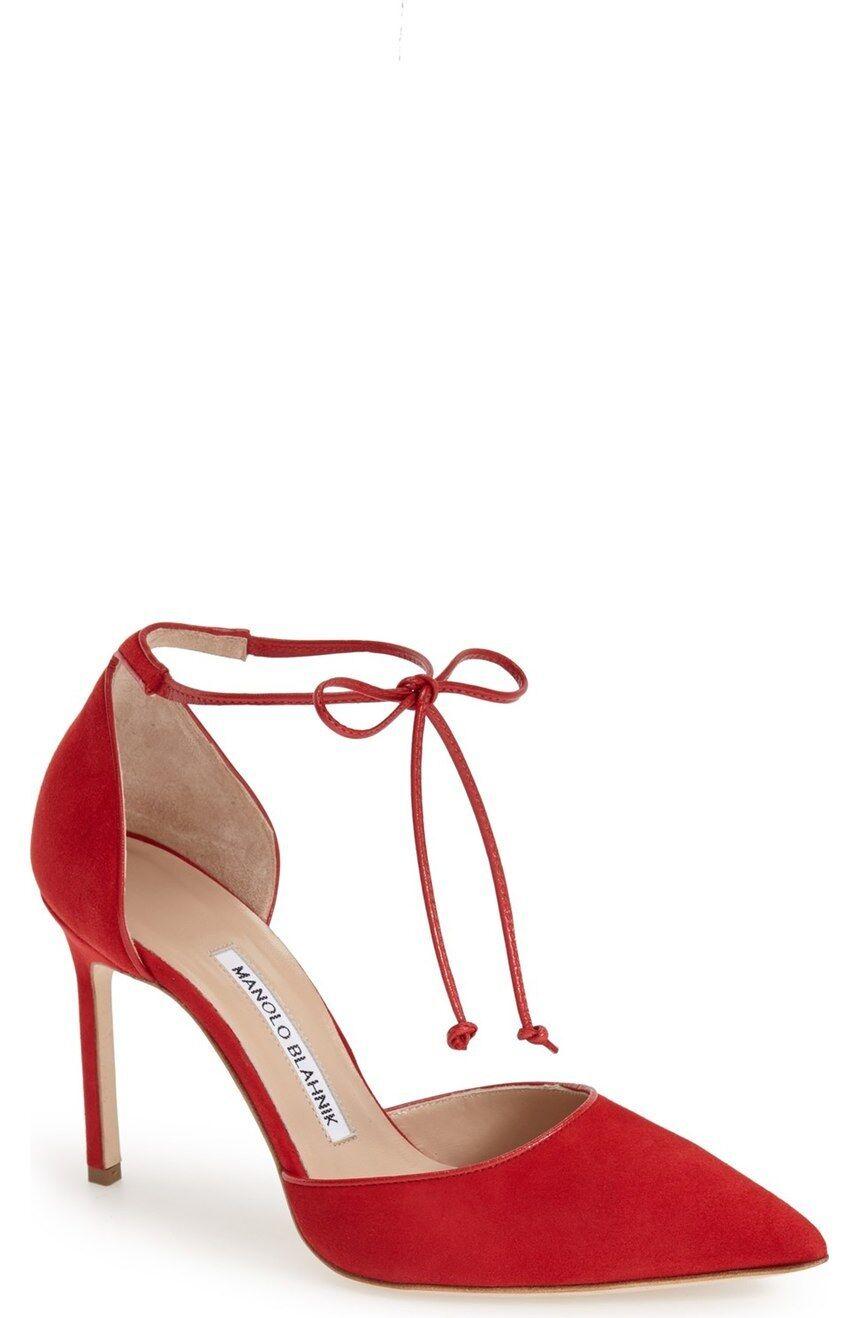 New sz 10 / 40 Manolo Blahnik Leyan Red Suede Ankle Tie d'Orsay Pump Heel Shoes