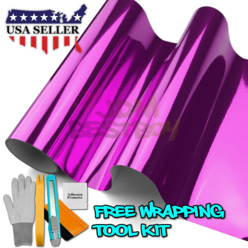 "*24/""x60/"" Pink Chrome Car Vinyl Wrap Sticker Decal Air Release Bubble Free"