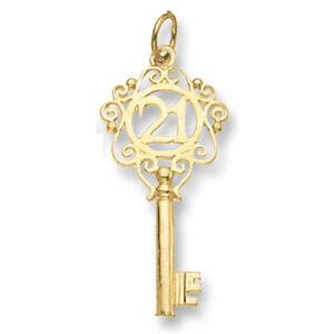21st birthday pendant key pendant yellow gold key of the door ebay image is loading 21st birthday pendant key pendant yellow gold key aloadofball Gallery