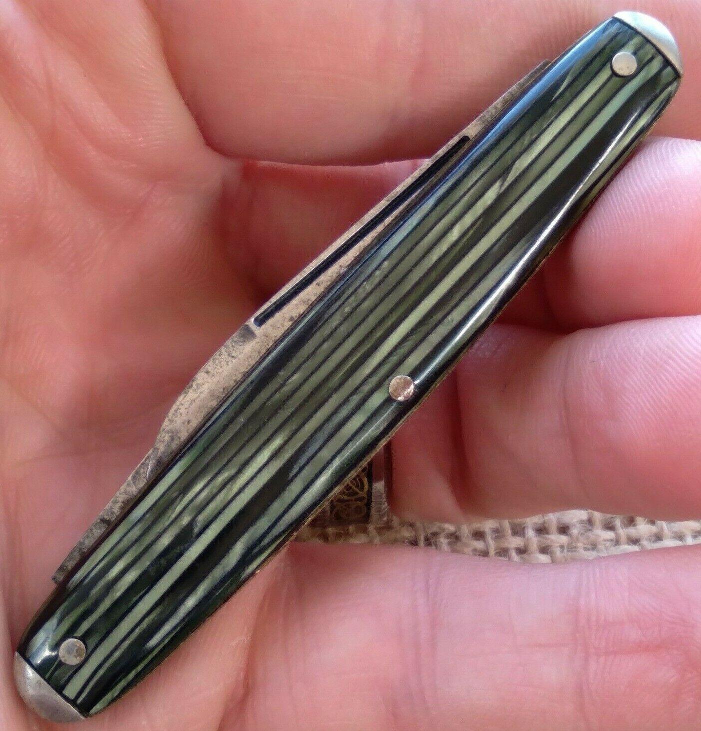 Vintage John Primble Belknap Etched Celluloid Pen Fob Folding Pocket Knife
